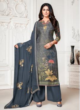 Blue and Grey Fancy Cotton Silk Designer Palazzo Salwar Suit