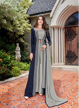 Blue and Grey Faux Crepe Designer Salwar Kameez