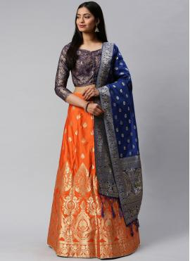 Blue and Orange Mehndi Banarasi Silk Lehenga Choli