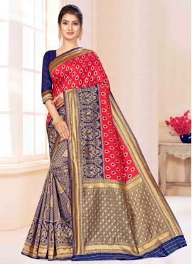 Blue and Pink Banarasi Silk Party Classic Saree