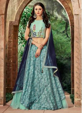 Blue Art Silk Bridal Lehenga Choli