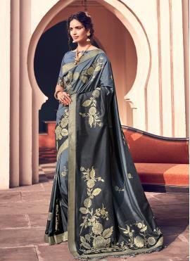 Blue Banarasi Silk Designer Bollywood Saree