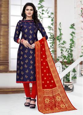 Blue Banarasi Silk Festival Churidar Designer Suit
