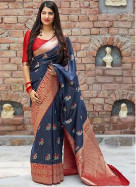 Blue Ceremonial Art Silk Traditional Designer Saree