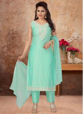 Blue Ceremonial Chanderi Readymade Suit