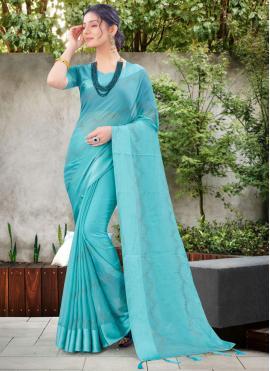 Blue Chiffon Satin Ceremonial Traditional Designer Saree