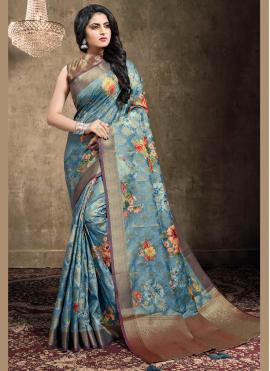 Blue Digital Print Classic Designer Saree