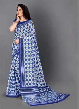Blue Digital Print Festival Trendy Saree