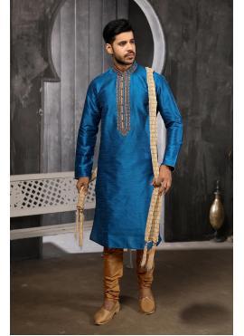 Blue Embroidered Art Banarasi Silk Kurta Pyjama