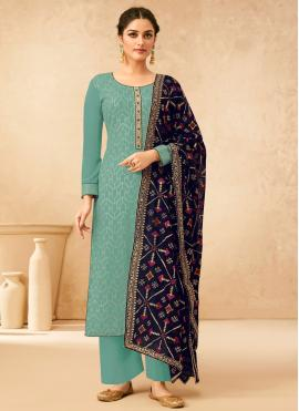 Blue Embroidered Faux Georgette Designer Palazzo Salwar Suit