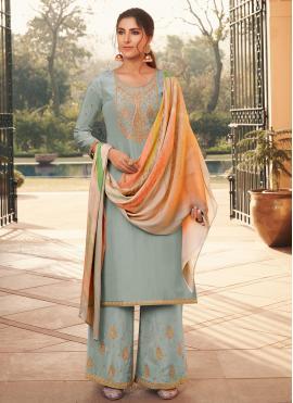 Blue Embroidered Festival Designer Pakistani Salwar Suit