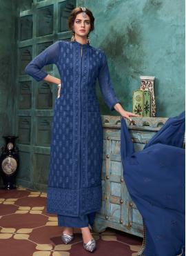 Blue Embroidered Festival Designer Suit