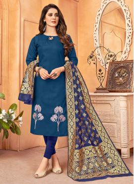 Blue Embroidered Festival Pant Style Suit