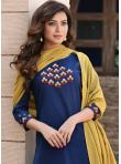 Blue Embroidered Festival Readymade Suit - 1