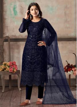 Blue Embroidered Net Designer Salwar Suit