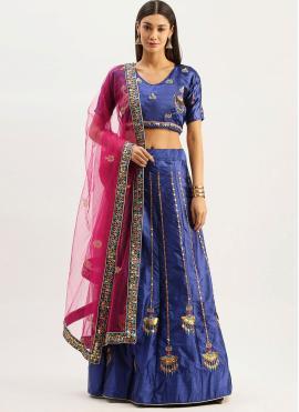 Blue Embroidered Sangeet Lehenga Choli