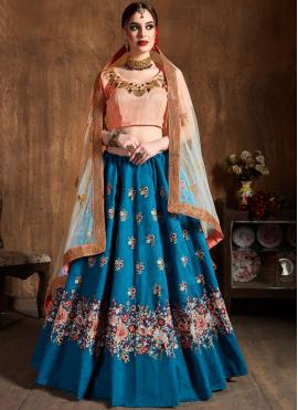 Blue Embroidered Wedding Lehenga Choli
