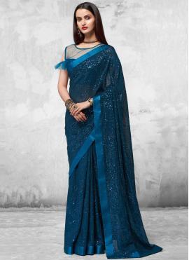 Blue Engagement Faux Georgette Designer Saree
