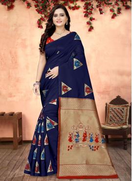 Blue Fancy Fabric Printed Printed Saree