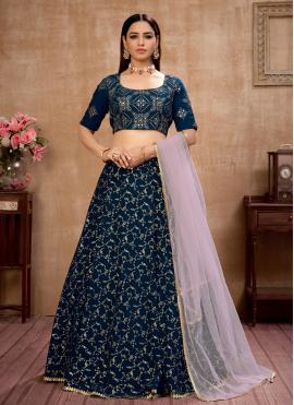 Blue Fancy Mehndi Lehenga Choli