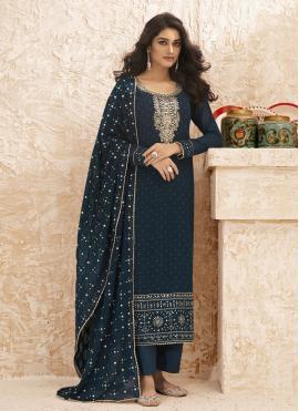 Blue Faux Georgette Embroidered Designer Straight Salwar Suit