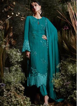 Blue Faux Georgette Resham Designer Pakistani Suit