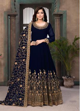 Blue Faux Georgette Sangeet Floor Length Anarkali Suit