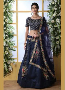 Blue Festival Art Silk Designer Lehenga Choli