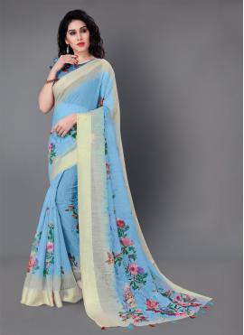 Blue Festival Cotton Classic Saree