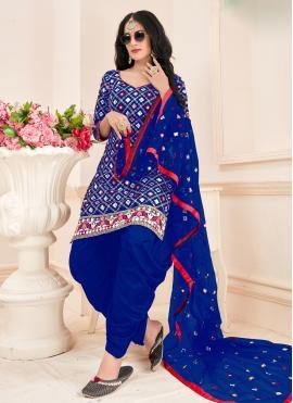 Blue Festival Cotton Patiala Suit