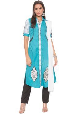 Blue Festival Cotton Readymade Suit