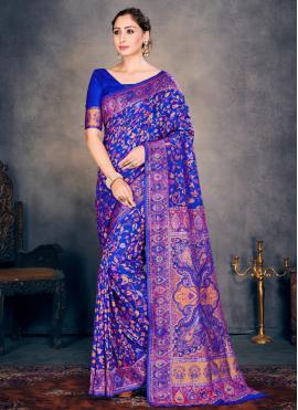 Blue Festival Cotton Silk Designer Traditional Saree