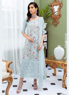 Blue Festival Designer Straight Salwar Suit