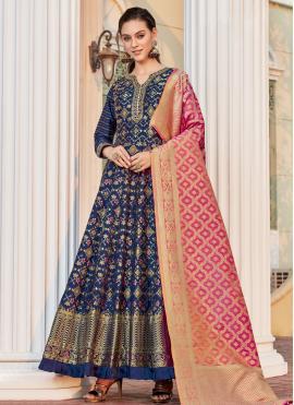 Blue Jacquard Readymade Anarkali Salwar Suit