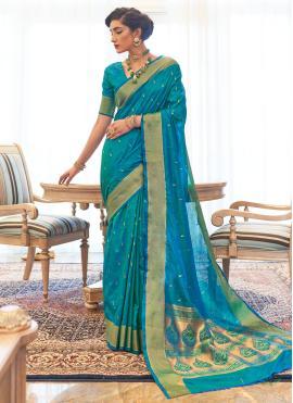Blue Kanjivaram Silk Festival Traditional Designer Saree