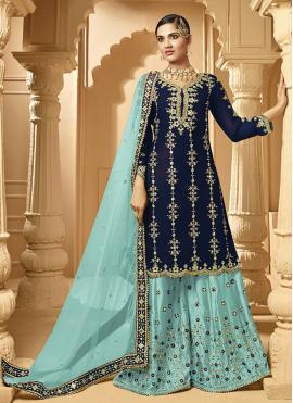 Blue Lace Sangeet Designer Palazzo Suit