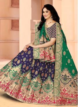 Blue Mehndi Banarasi Silk Lehenga Choli