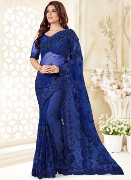 Blue Net Ceremonial Classic Designer Saree