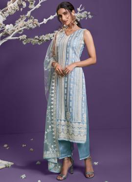 Blue Net Designer Straight Suit