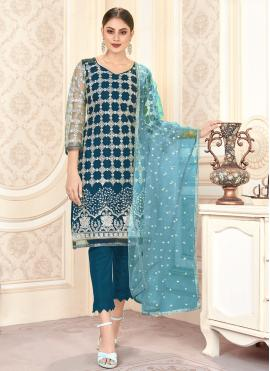 Blue Net Embroidered Pant Style Suit