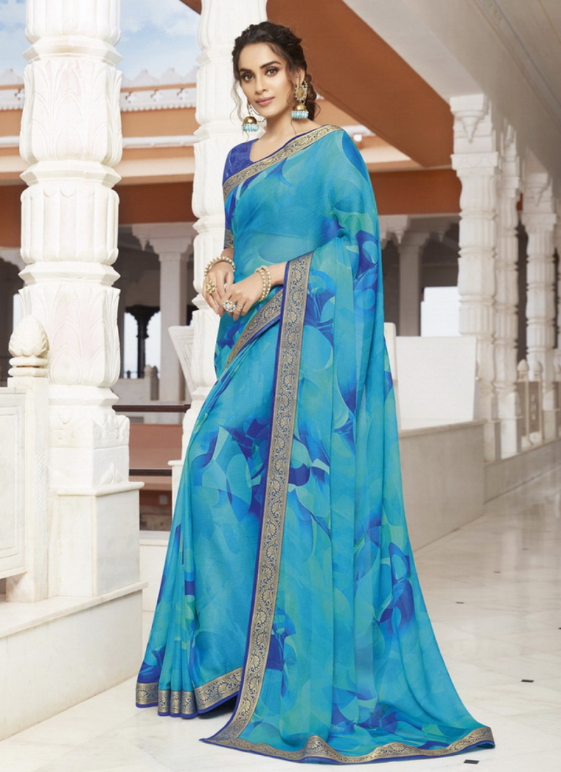 Blue Party Georgette Classic Saree