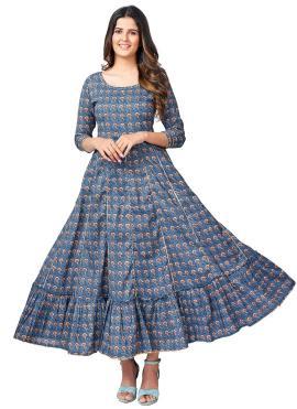 Blue Print Cotton Party Wear Kurti