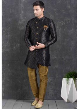 Blue Print Jacquard Silk Indo Western