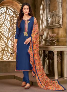 Blue Printed Chanderi Cotton Churidar Salwar Suit