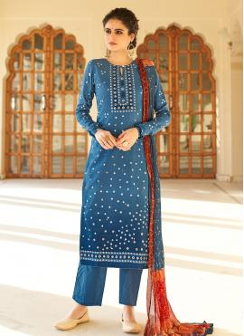 Blue Printed Designer Palazzo Salwar Suit
