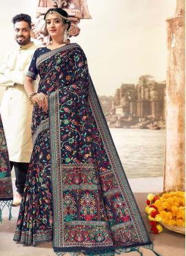 Blue Reception Banarasi Silk Saree