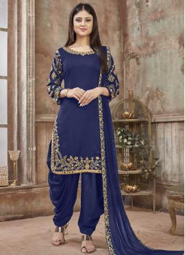Blue Reception Designer Patiala Salwar Kameez