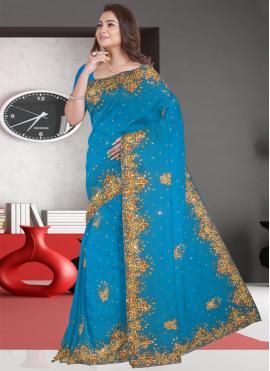 Blue Resham Engagement Classic Designer Saree