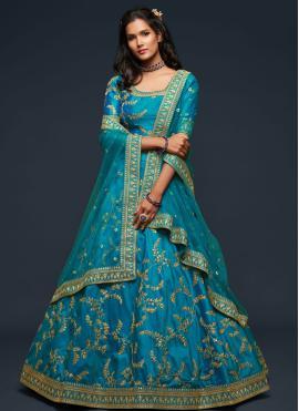 Blue Sangeet Lehenga Choli