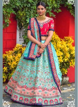 Blue Sangeet Silk Lehenga Choli